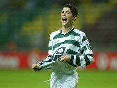 Cristiano Ronaldo celebrating a goal for Sporting CP, in Uefa European Championship, European Championships, Cristiano Ronaldo Cr7, Portugal Soccer, Sport C, Personal Qualities, Celtic Fc, Sports Clubs, Uefa Champions League