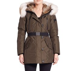 Andrew Marc Fur-Trim Belted Down Parka ($795) ❤ liked on Polyvore featuring outerwear, coats, apparel & accessories and olive