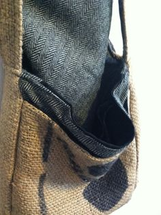 Burlap over the shoulder messenger purse with by mendedmaterial, $42.00