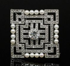 1920's diamond and pearl geometric pattern brooch.  Art Deco.  Vintage jewelry.