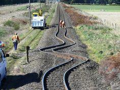 As vias de trem na Nova Zelândia após o terremoto em 2010.
