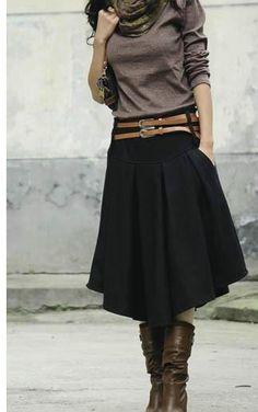 New Retail 2 Color Solid Irregular Pleated Skirt Women's Fashion Mid-Calf Short Skirt Winter-SKIRT-SheSimplyShops