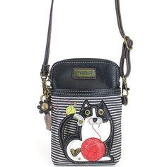 Chala Handbags Brown Cat Kitty Organizer Crossbody Purse New