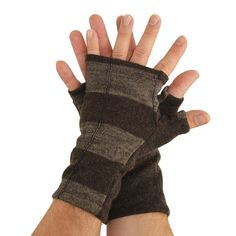 Men's Fingerless Mitts in Brown and Cappuccino by mirabeans