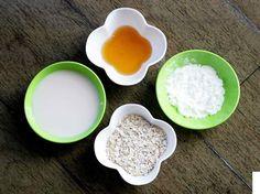 receita para clarear a pele Ingredientes: uma colher (de sopa) de aveia, uma colher (de sopa) de amido de milho, uma colher (de sopa) de mel e uma xícara (de chá) de leite de soja. Faça uma pasta homogênea misturando todos os ingredientes. Quando se tornar um creme grosso, está pronto.