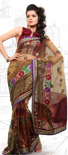 $61.74 Apricot and Red Faux Georgette and Net Latest Fashion Saree 16704 With Unstitched Blouse