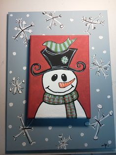 snowman canvas i painted with acrylic paints