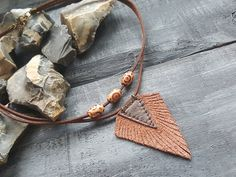Brown leather necklace. Tribal necklace. Boho necklace. Bohemian necklace…