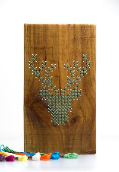 Wooden Cross Stitch Deer - Green... I wouldn't do a deer, but I'm sure I could think of something