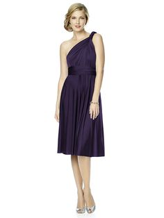 Dessy Maracaine Jersey Twist Wrap Dress Short -The convertible dress! Change the wrap to change the look. Available in cocktail length or full length, your bridesmaid dresses can match or each can create her own style. #timelesstreasure