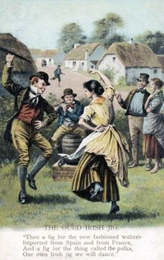 'The Ould Irish Jig' - painting of couple dancing in traditional dress, with man playing flute behind, late 19th century. Caption reads: 'Then a fig for the new fashioned waltzes imported from Spain and from France, and a fig for the thing called the polka, our own Irish jig we will dance.' from poem by James McKowen, Irish poet 1814 - 1889.