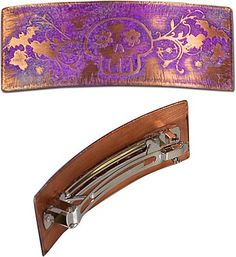 Skullhead Barrette - Etched Copper Sheet - antiqued, painted, inked, highlighted, bent, and glued.