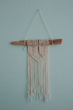 Mini driftwood macrame wall hanging by coppertoppedshop on Etsy