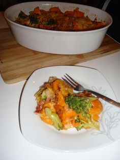 Zoete aardappelschotel met broccoli en spekjes | Groentje Gezond