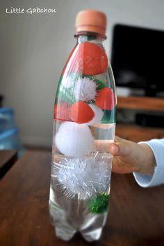 #bouteilles #sensorielles pour #bebe bouteille pompons