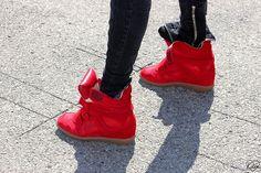 1c0e08c0fc ahmedjones: Isabel Marant sneakers Red Wedge Sneakers, Cheap Sneakers,  Wedge Shoes, High