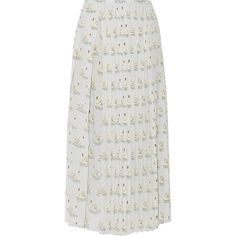 STELLA McCARTNEY   Domiziana pleated printed silk crepe de chine midi... (4634760 PYG) ❤ liked on Polyvore featuring skirts, midi skirts, knee length pleated skirt, multi color skirt, multi colored skirt and silk skirts