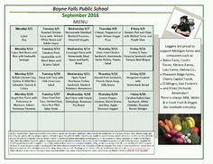 Boyne Falls Public School - September 2016 Menu