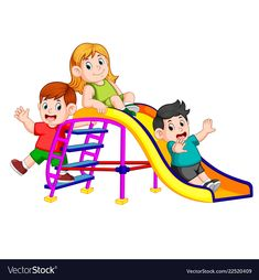 Childrens have fun play slide Royalty Free Vector Image Drawing For Kids, Art For Kids, Scrapbook Cover, Preschool Coloring Pages, Lion Painting, School Murals, School Painting, School Displays, School Clipart
