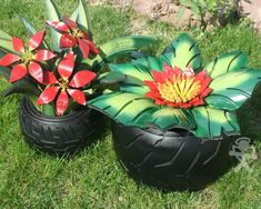 RECYCLED TIRES | CUT OUT FROM OLD TIRES AND MADE FLOWERS FRO… | ang.kettel | Flickr