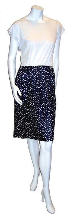$39.00  1970's black and white polka dot dress.