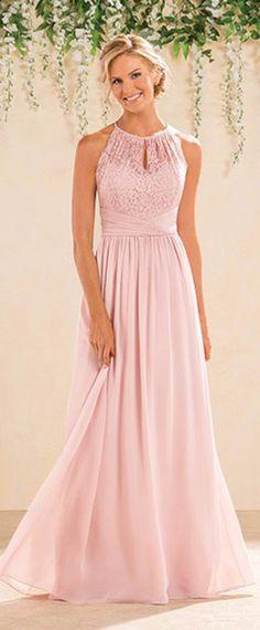 Fantastic Lace & Chiffon Halter Neckline A-Line Bridesmaid Dresses