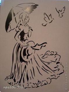Картина, панно Вырезание, Вытынанка: Дамочка с голубями Бумага 8 марта, День рождения. Фото 1