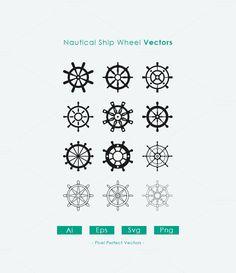 12 Nautical Ship Wheel Vectors by Dreamstale on Creative Market