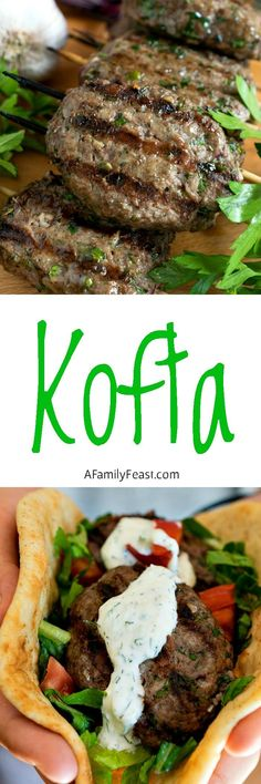 - A Family Feast® Kofta - A super flavorful alternative for your next summer cookout. The grilled meat skewers are fantastic!Kofta - A super flavorful alternative for your next summer cookout. The grilled meat skewers are fantastic! Armenian Recipes, Lebanese Recipes, Turkish Recipes, Greek Recipes, Indian Food Recipes, Armenian Food, Food Recipes Summer, Syrian Recipes, Comida Armenia