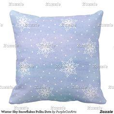 Winter Sky Snowflakes Polka Dots Pillows.