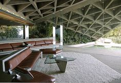 Space exalts. A classic in the study of extraordinary space and one of the last homes on my bucket list to see: This is the Sheats-Goldstein Residence by John Lautner. Beautiful, yes. Lyrical, yes. Exalts, yes. The concrete roof geometry is a product of its function and contains glass-filled holes like tiny skylights casting wonderful light forms onto the floor. The large volume manages to maintain a human scale while framing the views below.