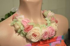 Handmade Fabric flowers necklace