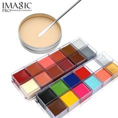 19.33$ Buy here - IMAGIC Halloween 12 Color body painting Special Effects Stage Makeup Fake Wound Scars Wax + body Painting Pigments Set #aliexpresschina