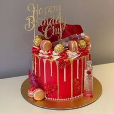 ❤️😍 As much as I love a character topper, there's something so nice about a simple topper to add that finishing touch to a fabulous cake… Alcohol Birthday Cake, Red Birthday Cakes, Red Velvet Birthday Cake, Alcohol Cake, Birthday Cake For Him, Red Cake, Beautiful Birthday Cakes, Birthday Cakes For Women, 23rd Birthday