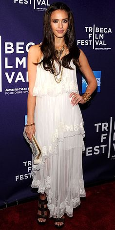 Who made Jessica Alba's white layered dress and brown shoes that she wore to the Tribeca Film Festival premiere of The Killer Inside Me?