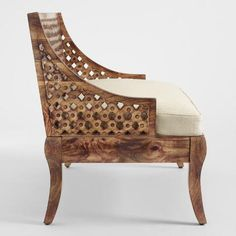 Skilled craftsmen in India employed centuries-old fire-etching techniques to create our intricate love seat. Home Decor Furniture, Furniture Makeover, Furniture Design, Furniture Ideas, Living Room Redo, Accent Chairs For Living Room, Dining Room, Accent Wall In Kitchen, Colored Dining Chairs