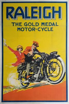 Original+vintage+motorcycle+poster+RALEIGH+The+gold+medal+Motor-Cycle++-+S.W.+LEFEAUX