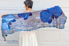 Blue Mystique / Felt Art Scarf