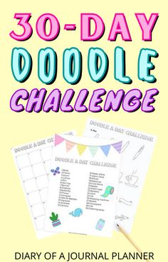 Become a bullet journal doodle pro in a month with this 30-day doodle challenge! #doodles #Bulletjournaldoodles Bullet Journal Printables, You Doodle, Simple Doodles, Alcohol Markers, Doodle Drawings, 30 Day, Step By Step Instructions, Prompts, Improve Yourself