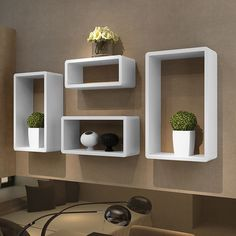 Cuboid shelf set of 4 White. Cuboid Shelf 50 x 30 x 15 cm. Cuboid Shelf 45 x 25 x 15 cm. Cuboid Shelf 40 x 20 x 15 cm. Cuboid Shelf 35 x 15 x 15 cm. They can be either mounted on your wall or just piled up on the floor for your display and storage use. Floating Cube Shelves, Cube Wall Shelf, White Wall Shelves, Wall Cubes, Floating Bookshelves, Box Shelves, Display Shelves, Bookcase White, Glass Shelves