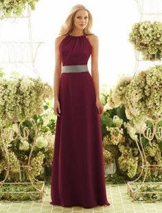 Beautiful plum modest bridesmaids dress. Add a bolero for modesty in the church.