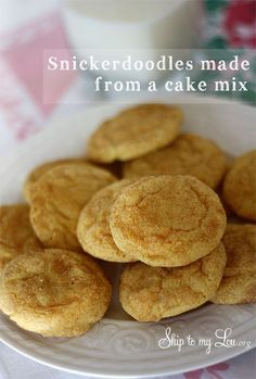 "Snickerdoodle cake mix cookies  Mix together one classic yellow cake mix with 1/4 cup oil and two eggs. Form into about 1"" balls.  Mix together 1 tsp cinnamon and 3 Tbs sugar. Roll balls into cinnamon and sugar mixture.Place balls on cookie sheet and slightly flatten balls with the bottom of a glass. Bake at 350 degrees for about 8 minutes."