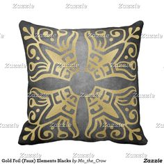 Gold Foil (Faux) Elements Blacks Pillow