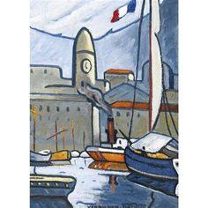 """LOUIS MATHIEU VERDILHAN (French, 1875-1928) - """"Le port de Marseille"""""""