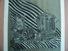 Charcoal and chalk reflective still life. Took forever!