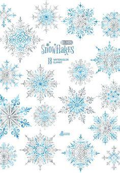 Flocons de neige en argent. 18 éléments distincts aquarelle