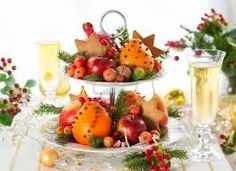 Here's a great way to create an edible and healthy holiday table centerpiece. On a festive tiered platter, arrange fresh fruits and nuts, along with some sprigs of pine, spruce, juniper or other local tree specimen. It makes for a vibrant, festive and healthy edible table display. #veggiegoddess