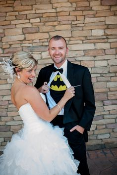 Bride and Batman. I'm so doing this at my wedding.