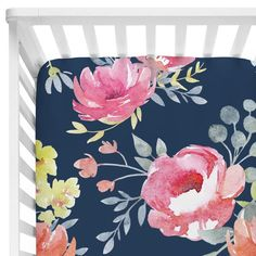 We're loving the dark floral trend! This gorgeous navy and pink floral print is perfect for any baby girl. Create your dream floral nursery with this crib set.