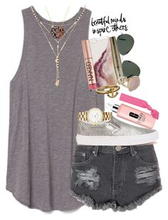 """""""working on layouts...  or """" by thefashionbyem ❤ liked on Polyvore featuring Forever 21, BaubleBar, L'Oréal Paris, Ray-Ban, Glamorous, Urban Decay, Butter London, Vans, Kate Spade and Topshop"""
